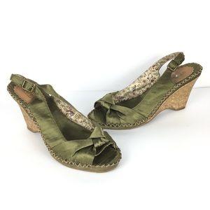 Seychelles Anthropologie satin cork wedge sandals